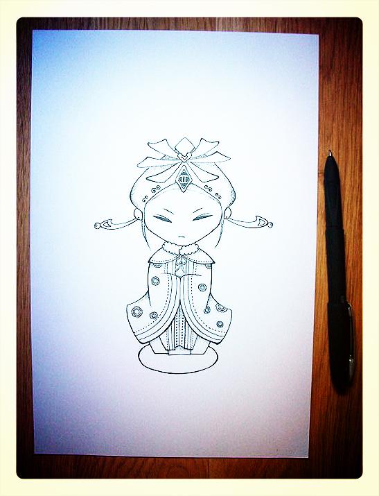手绘碳素笔卡通