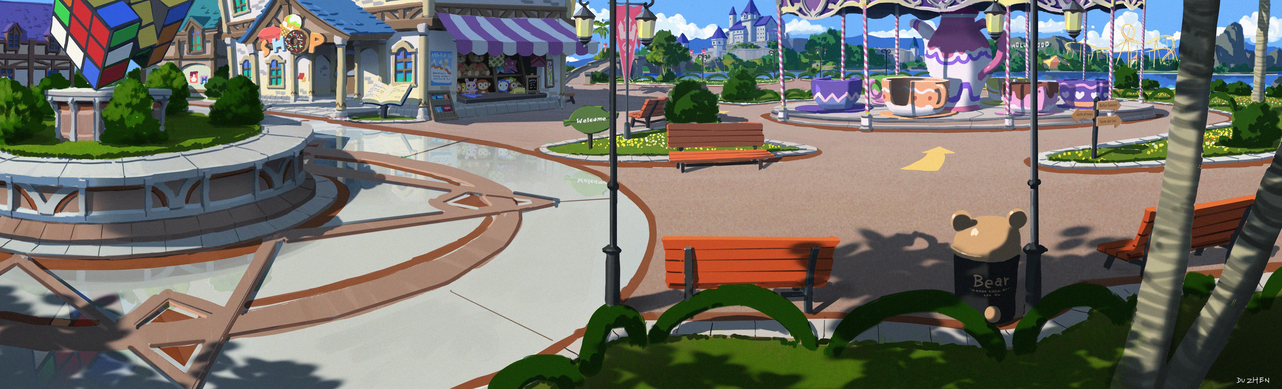 杜震-《游乐场》横版场景