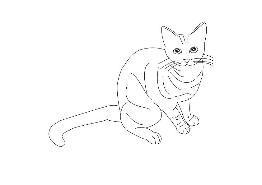 黑白卡通手绘一只猫用爪子触摸女孩的鼻子类似的图,最