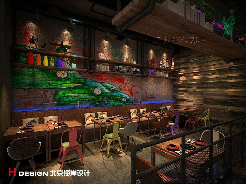 河南郑州舒记鱼空间案例v空间火锅|餐饮|室内设计|海岸快餐厅内装修设计图片