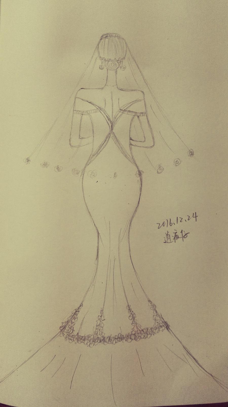 婚纱手绘模仿|绘画习作|插画|逍疯仔 - 原创设计作品