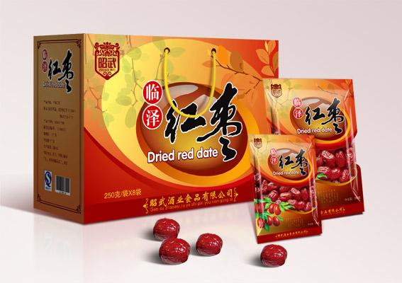 红枣包装袋设计,喜庆的昭武大红枣包装设计,大枣包装盒设计,食品包装图片