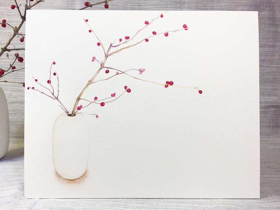 水彩手绘--小红果