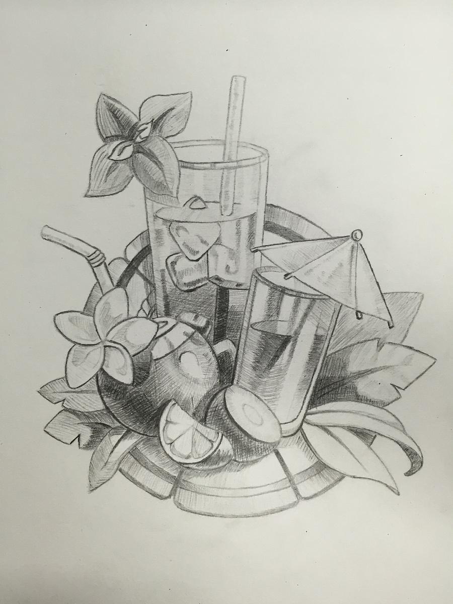 手绘下午茶|素描|纯艺术|niki0806