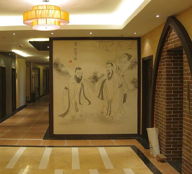 青岛手绘墙青城作品--玉满城酒店壁画