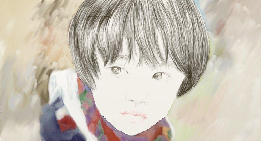 手绘板画画试手|绘画习作|插画|钝黑白灰