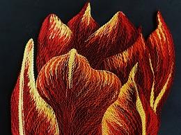 衍纸原创作品:《郁金香/tulip》