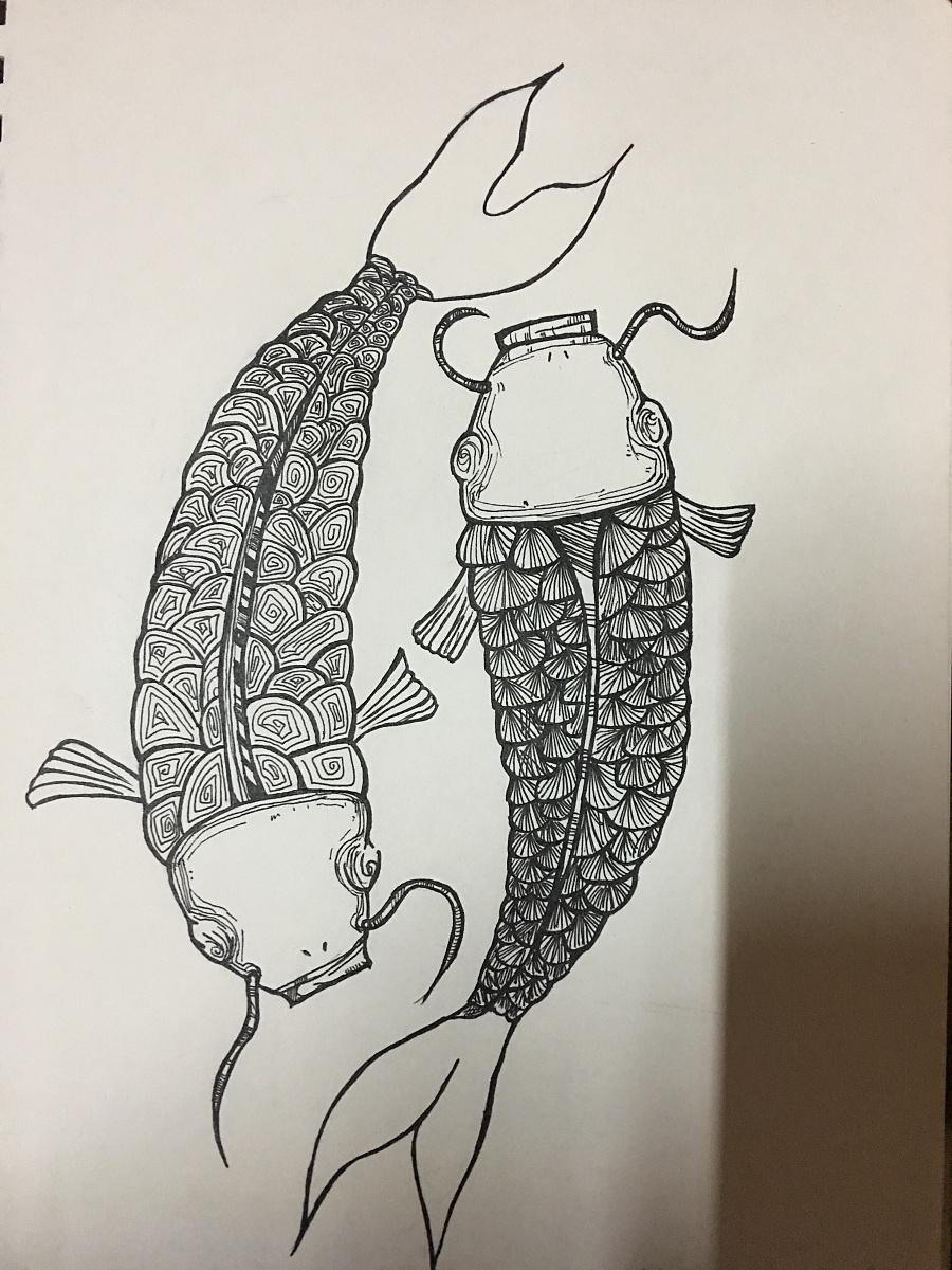 纯手绘锦鲤 年年有鱼 黑白画(临摹 改版)图片