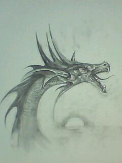 龙素描-铅笔画 龙图片