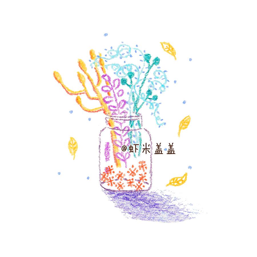 一组手绘彩铅植物盆栽 @虾米盖盖