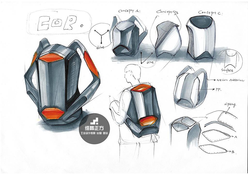 背包设计手绘图 |工业/产品|生活用品|维晶正方工业