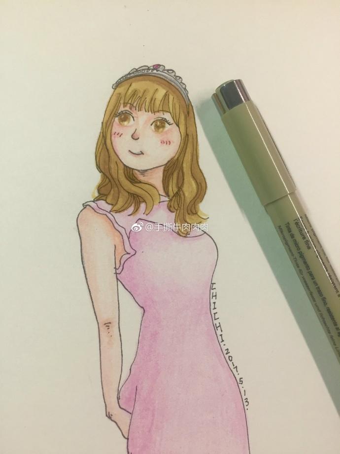 马克笔 彩铅 针管笔手绘女孩