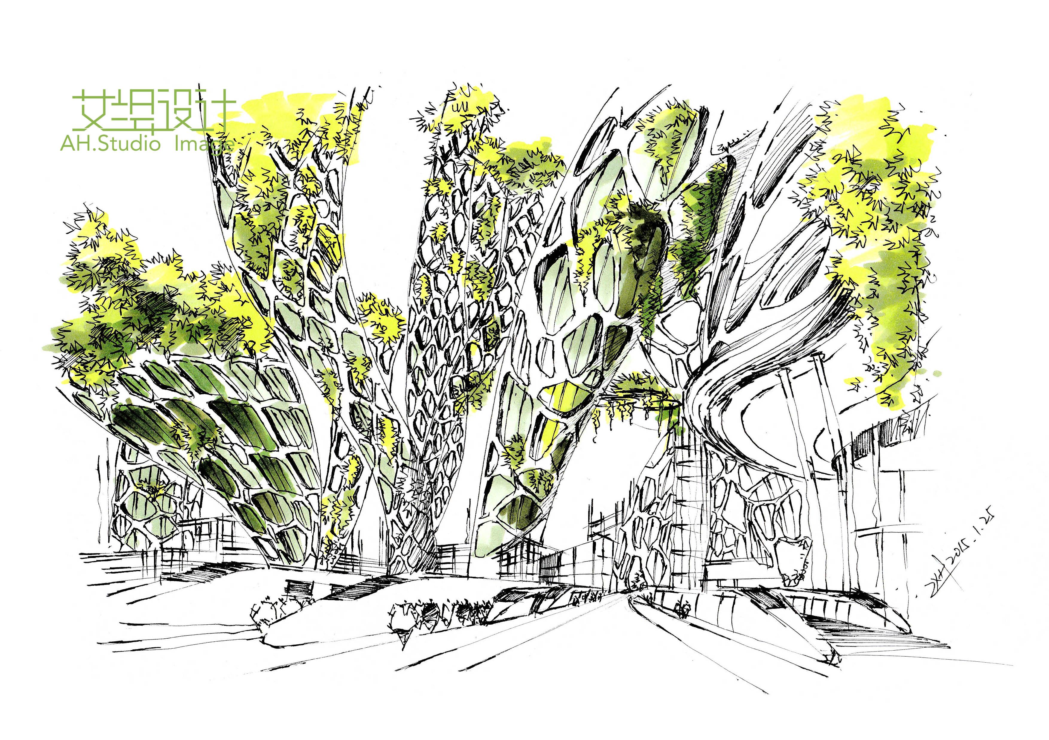 艾绘设计—建筑马克笔表现步骤|空间|建筑设计|画手绘