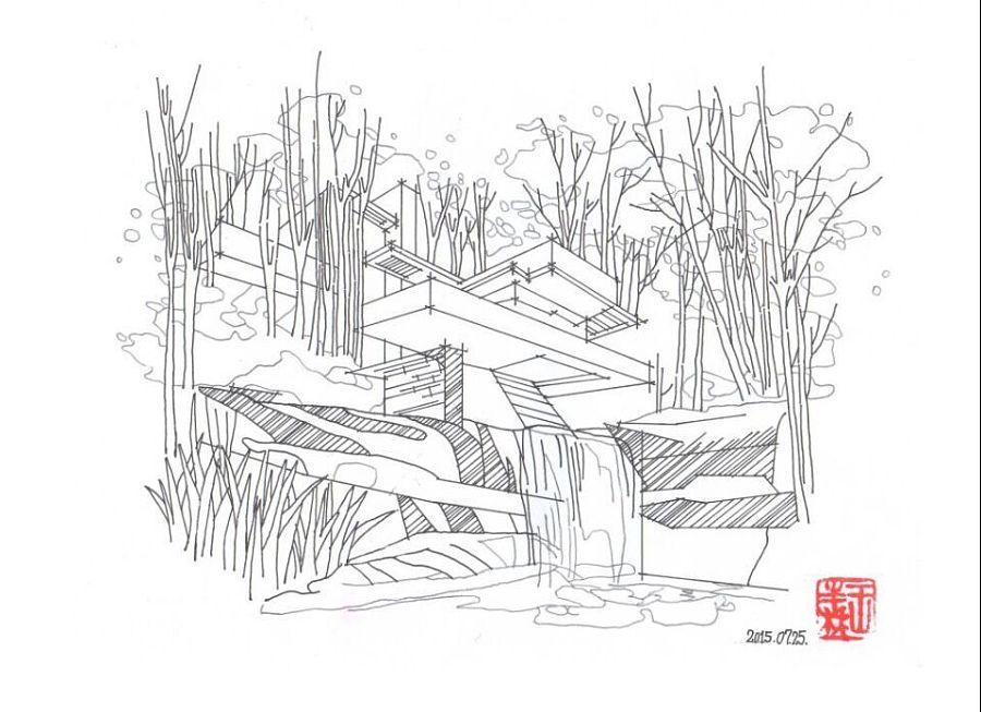 流水别墅 |建筑设计|空间/建筑|风铃windbell