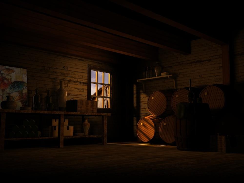 傍晚木屋场景