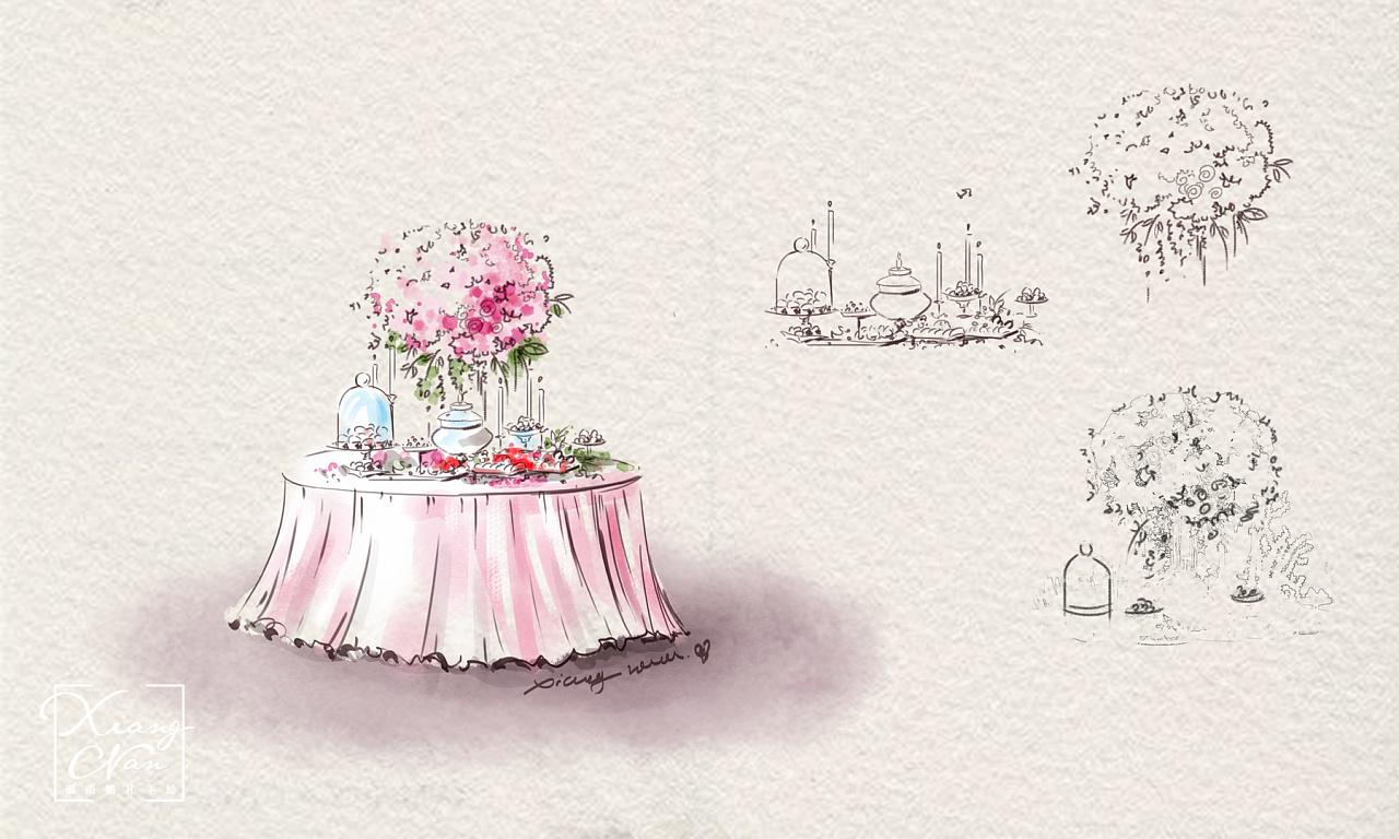 湘南婚礼手绘 小清新水彩婚礼
