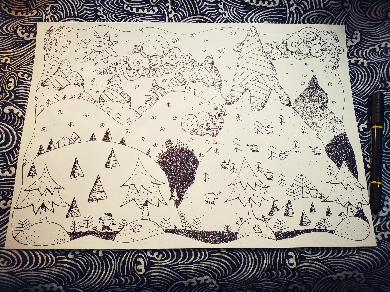 手绘练习 黑白线描风景装饰画图片