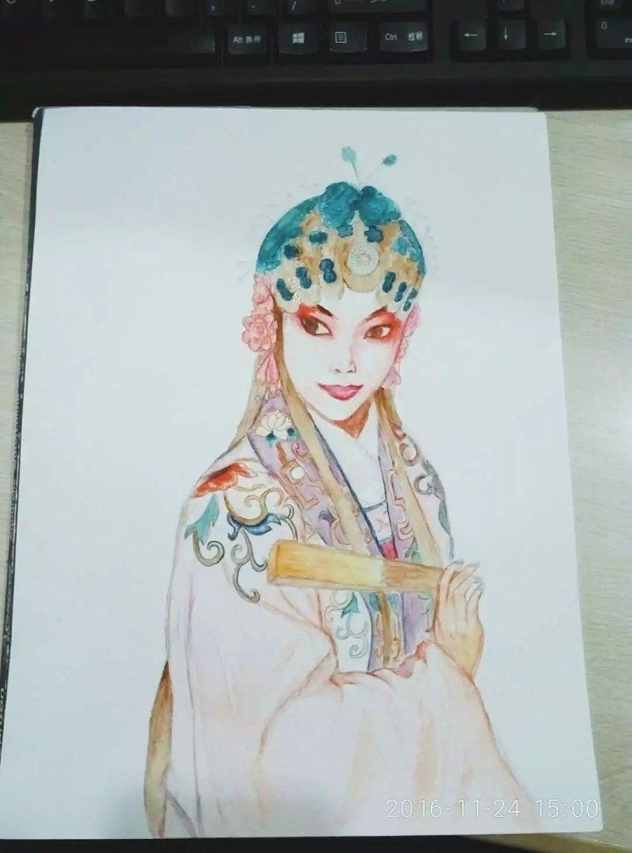 水彩京剧人物照片写生