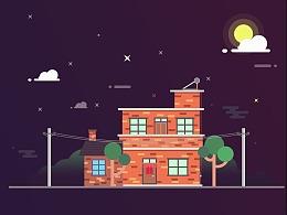 扁平夜景插画