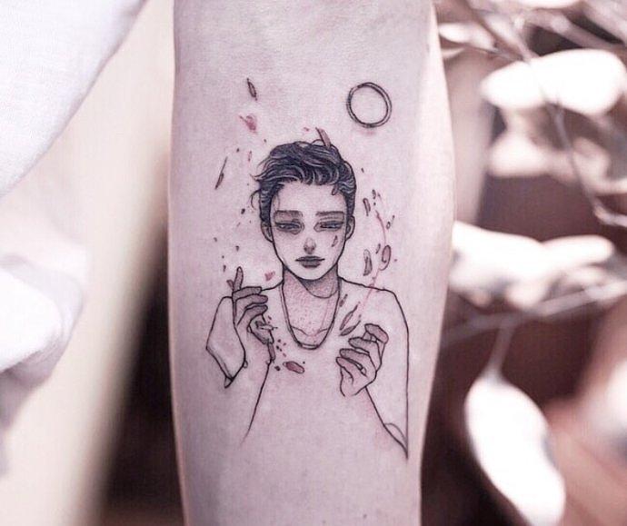 笔画简漫画纹身人物卡通设计人物赏析.重庆迦纹身四格大全图片