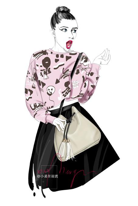 原创作品:时装画 女子与包