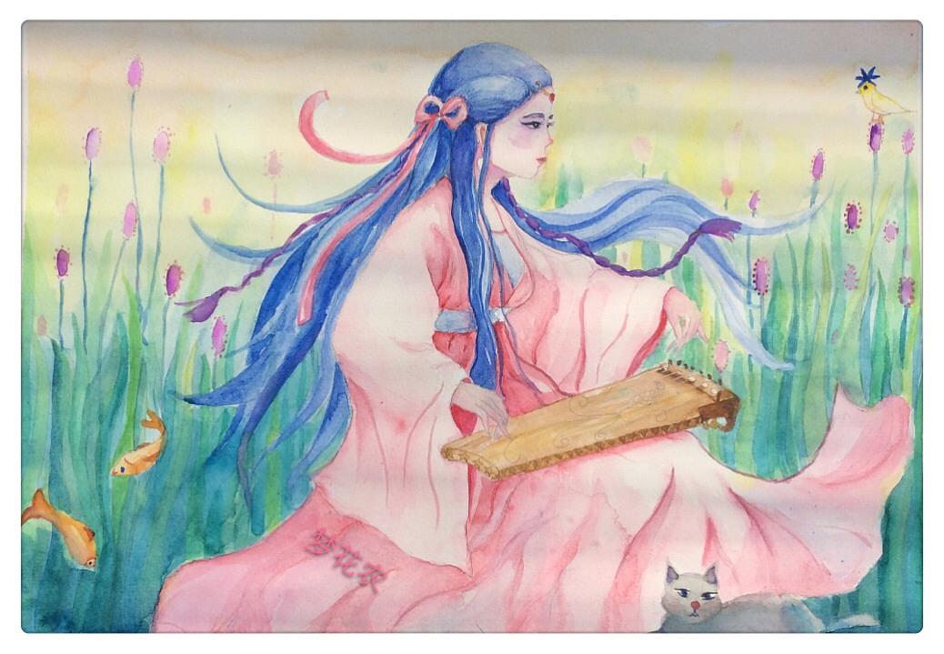 手绘水彩古风插画