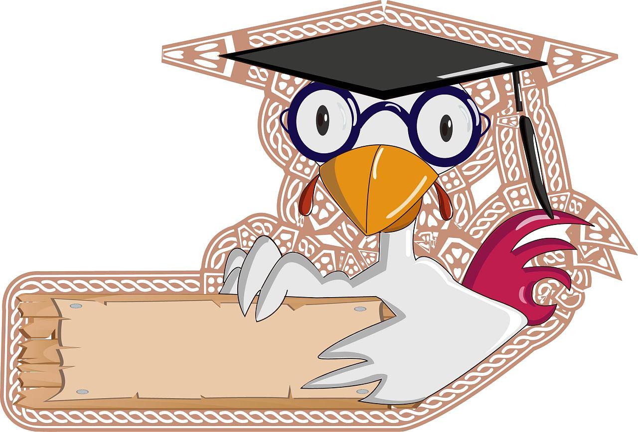 卡通博士鸡眼镜鸡