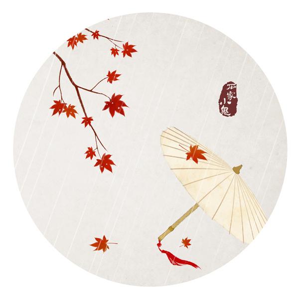 水墨中国风——竹间系列·枫叶油纸伞