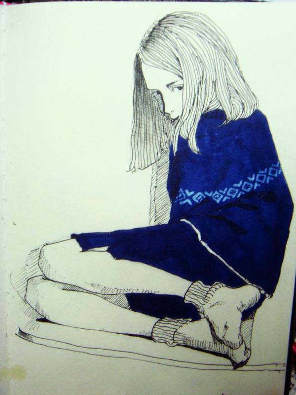 彩铅手绘画小人彩铅速写油画水彩|插画|插画习作|黄秋