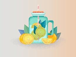 柠檬杯子插画