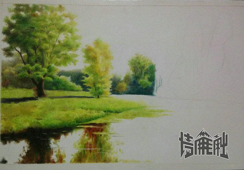 阿姆叔最新彩铅风景——【初秋湖畔】教程贴