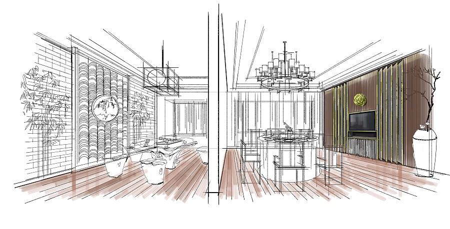 室内手绘概念方案《一》|室内设计
