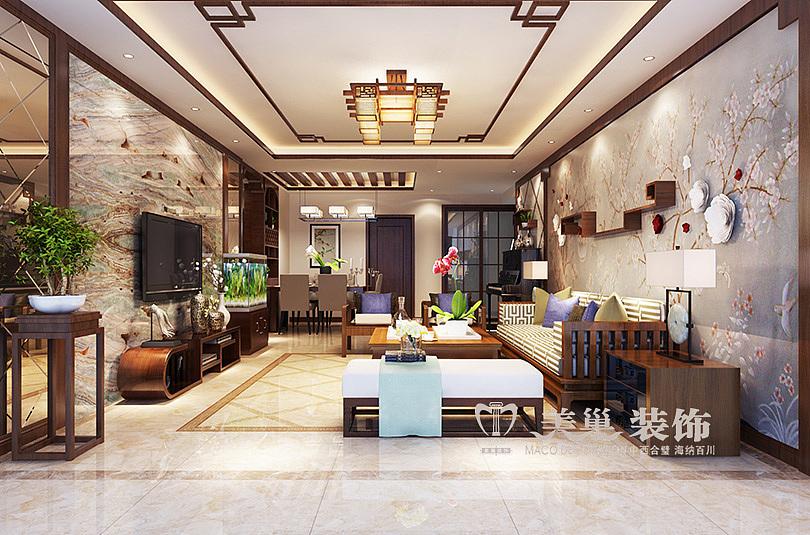 升龙广场装修效果图145平四室两厅新中式设计方案---客厅
