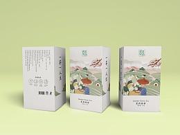 茉莉绿茶插画包装设计