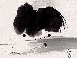 写意水墨画《烟雨江南中》《石兰图》《诸事大吉》