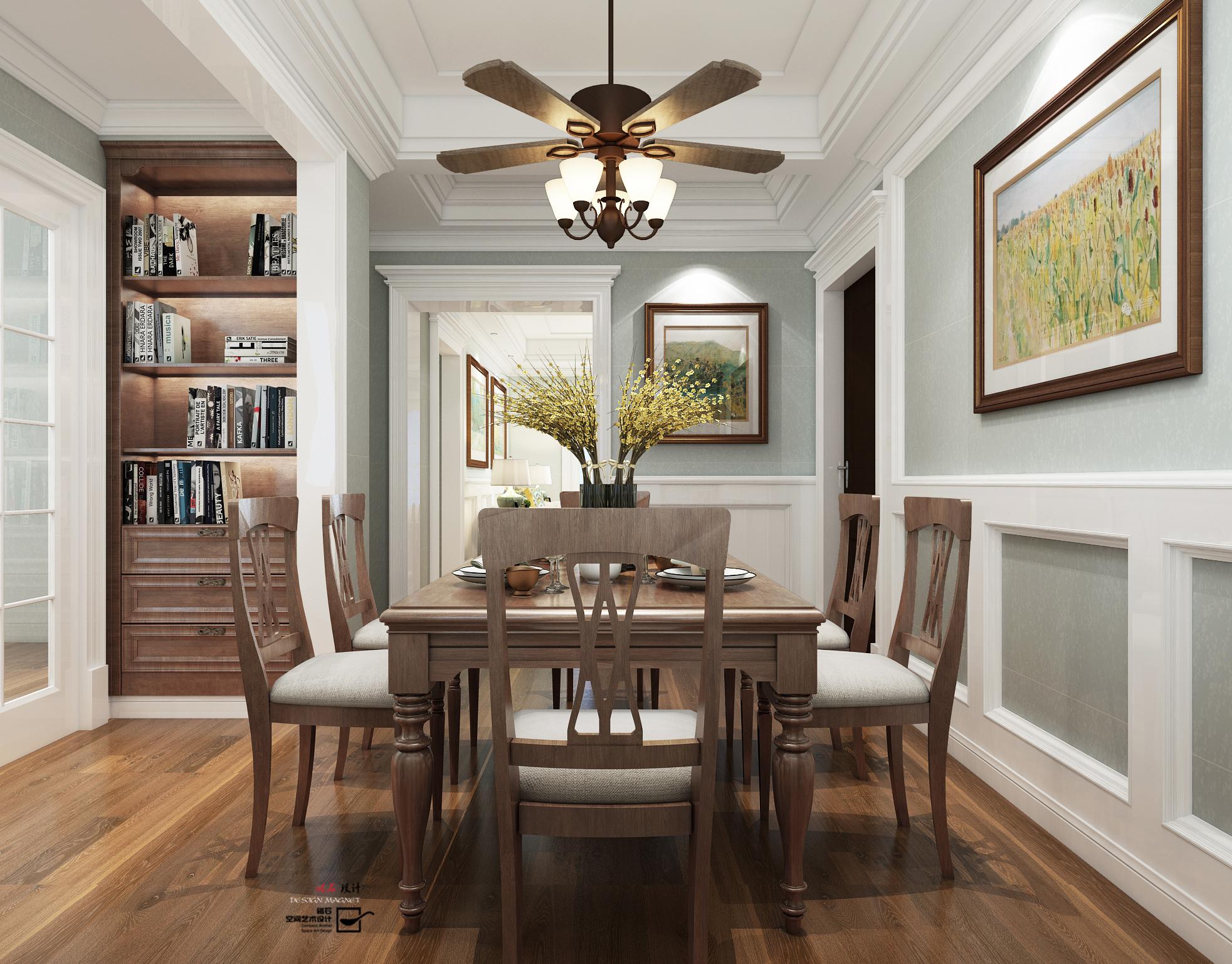 软装搭配: 地面选择了白色木纹砖配合木地板,墙面白色烤漆墙板搭配浅图片