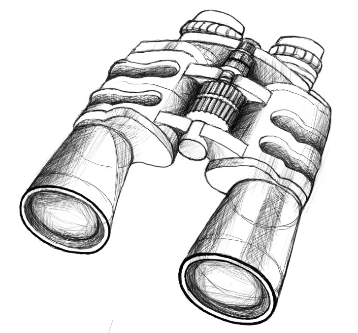 望远镜-手绘
