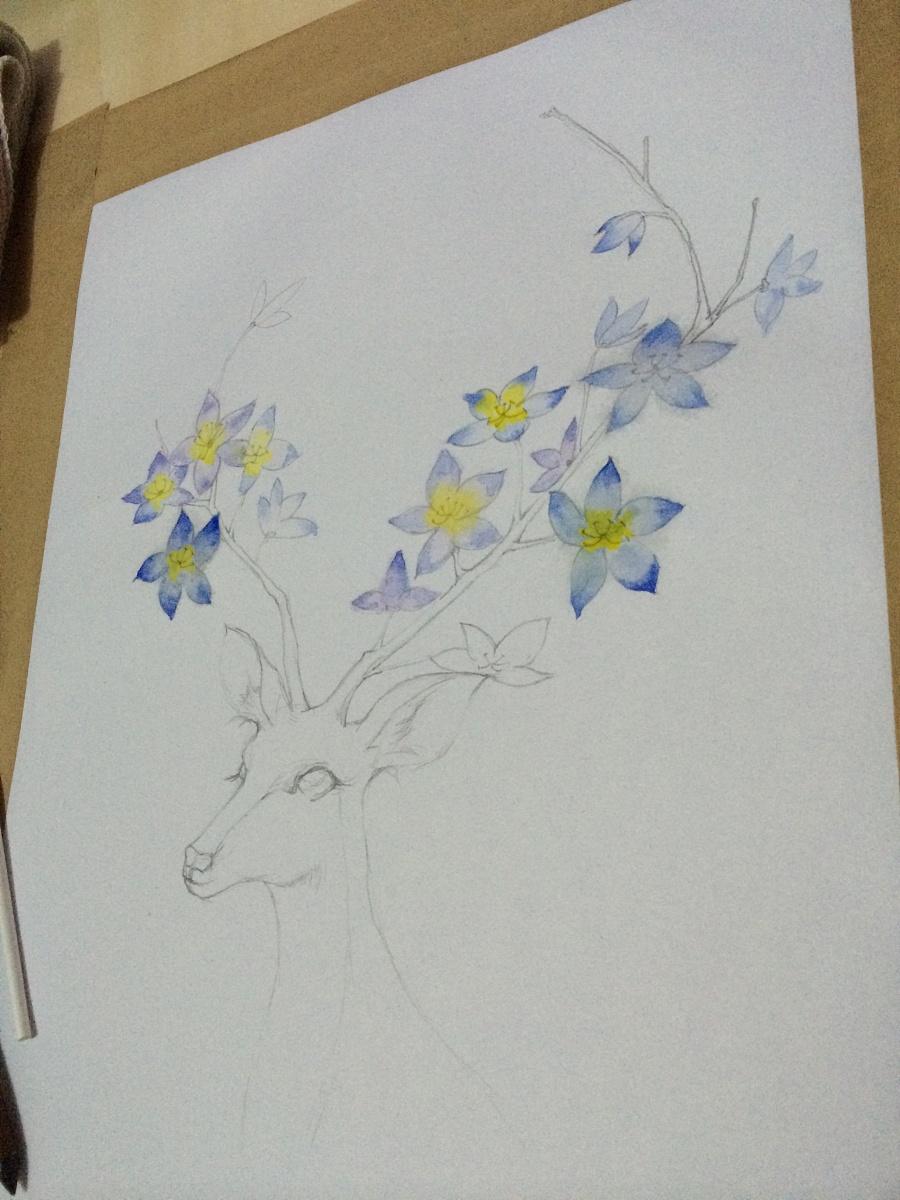 颜料和水在纸上的效果不理想,因为是练习作品嘛,无所谓啦~-鹿
