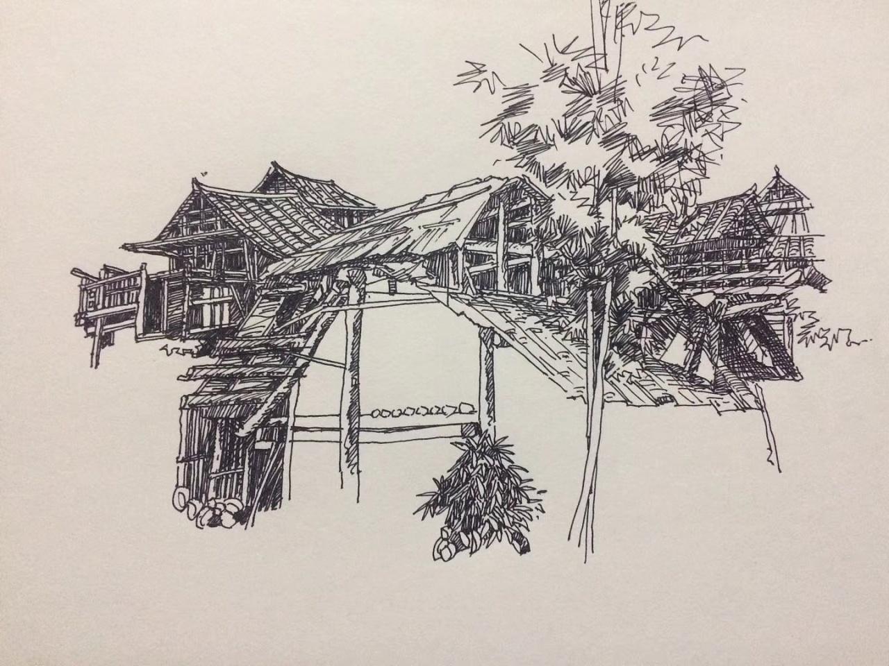 范炯钢笔画手绘建筑表现