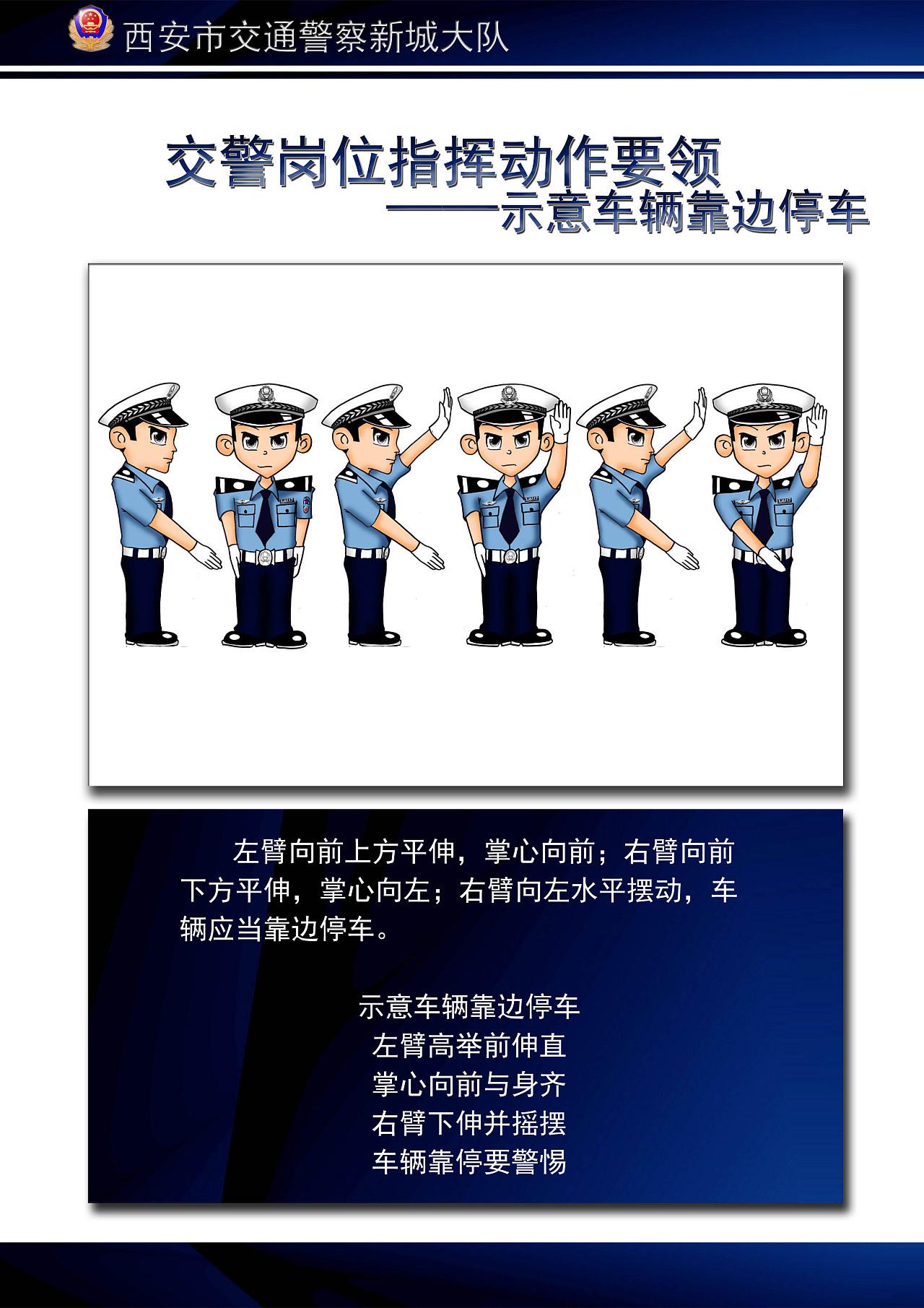 卡通交警指挥手势