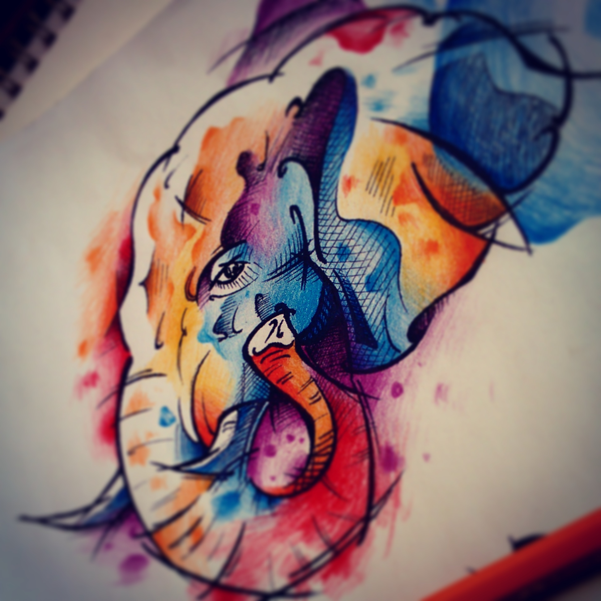 纹身手稿——水彩泼墨大象系列