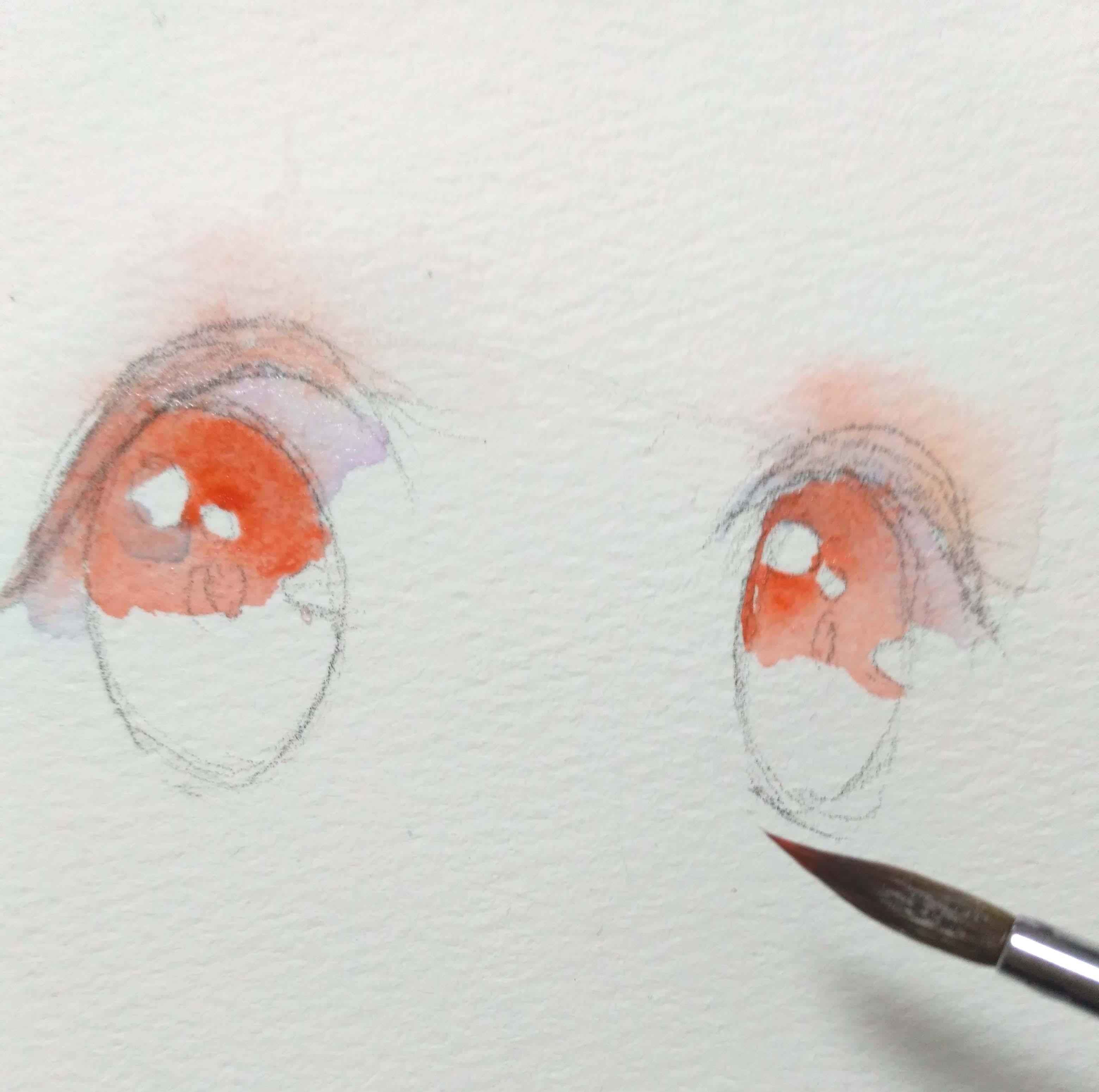手绘动漫水彩眼睛