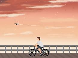 夕阳下在河边骑自行车