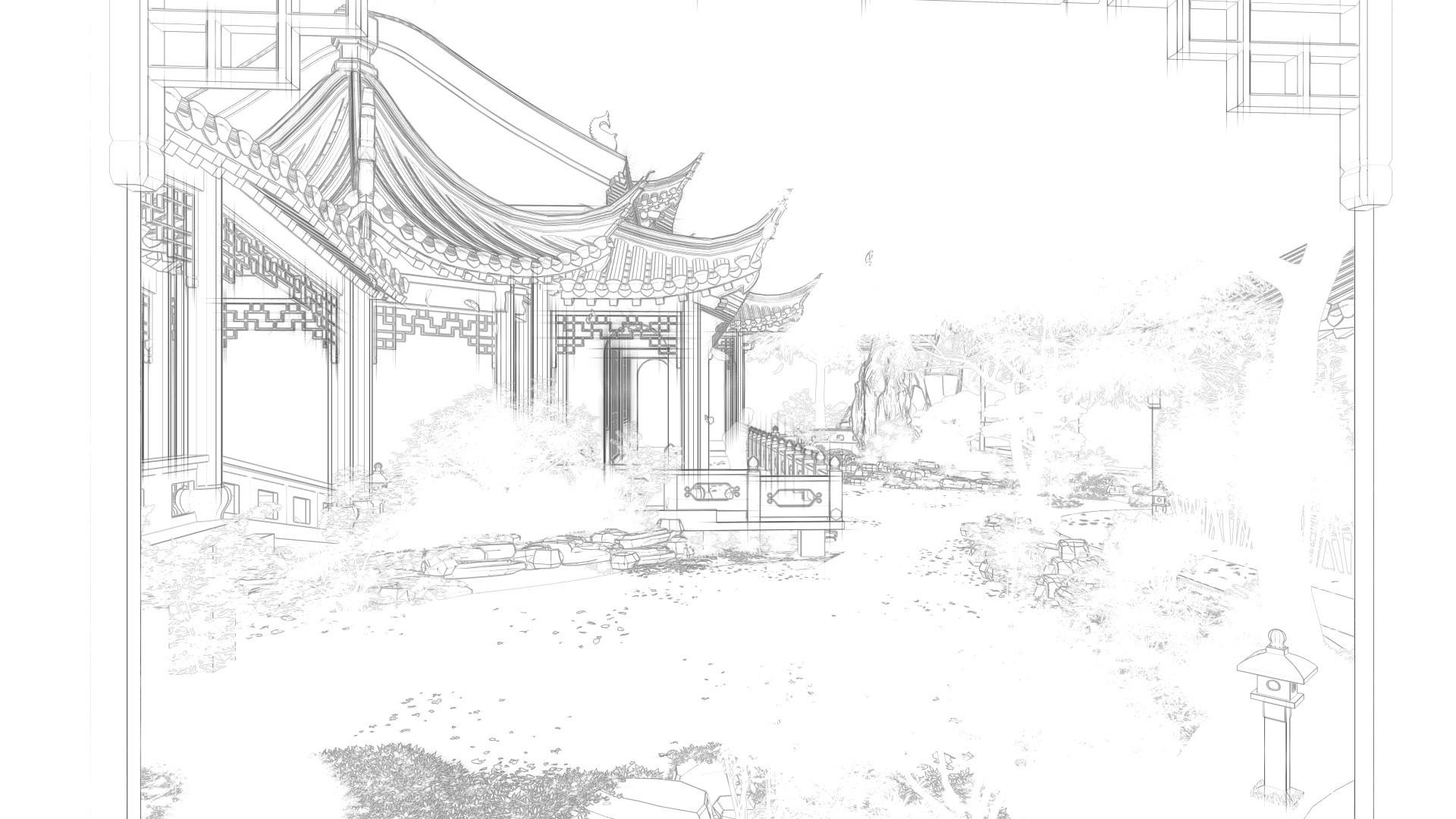 古建手绘线稿单体