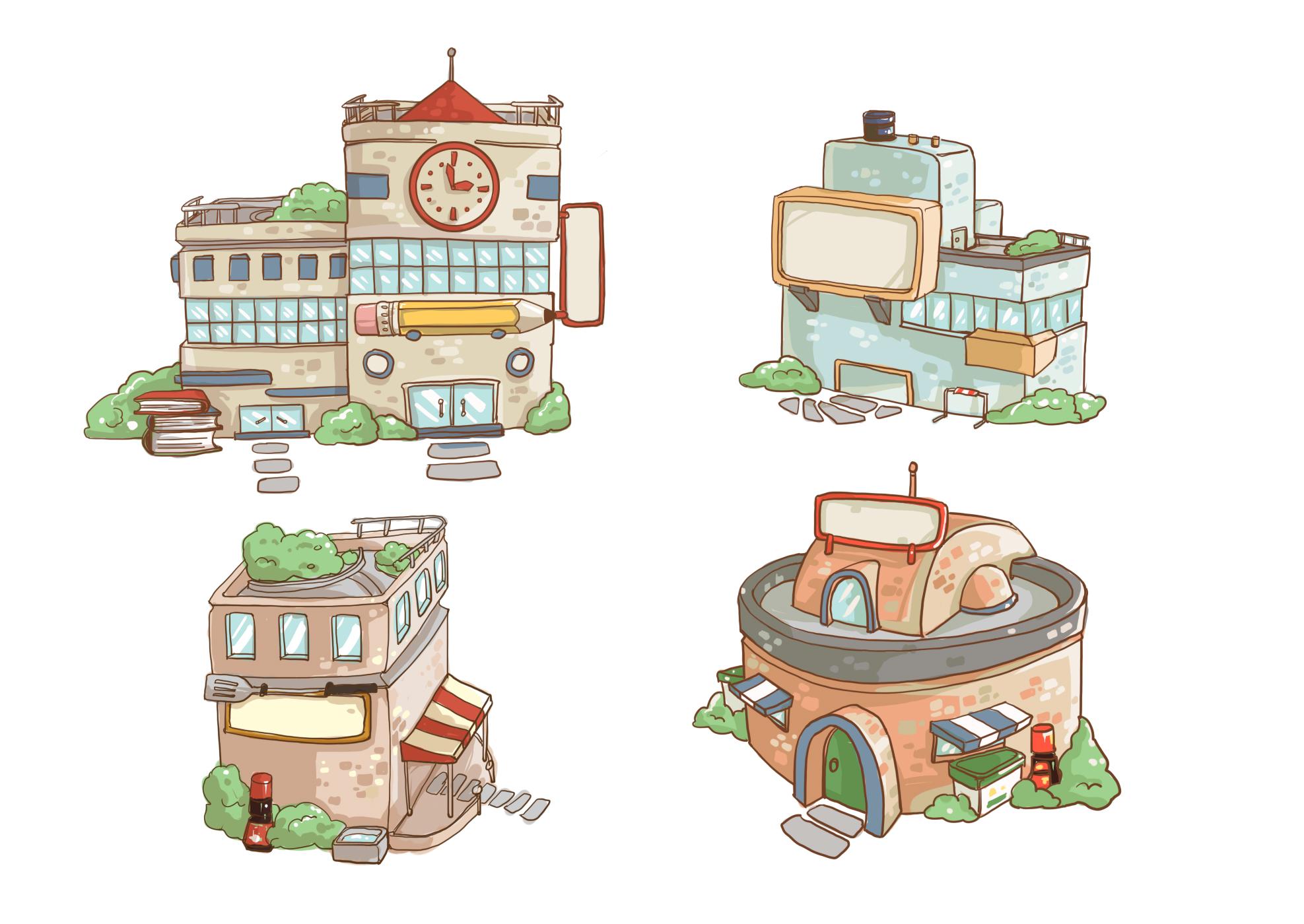 4个手绘卡通风格房子(附psd)