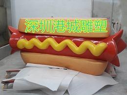 餐饮行业小吃店迎宾玻璃钢热狗火腿肠雕塑定制专业厂家