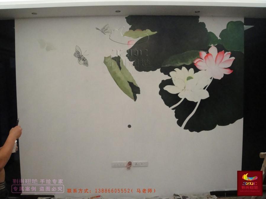 中式手绘电视背景墙《荷花》及绘制过程