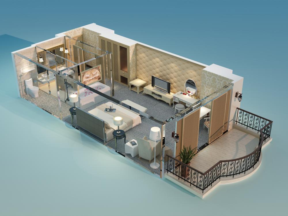 3D鸟瞰多头布置图小度假案例公寓|厂商|室内设立体加工中心设计空间图片