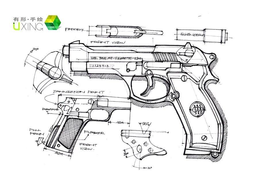 用手枪的手绘表现图来说明手柄防滑纹的绘制 ,结合针管笔