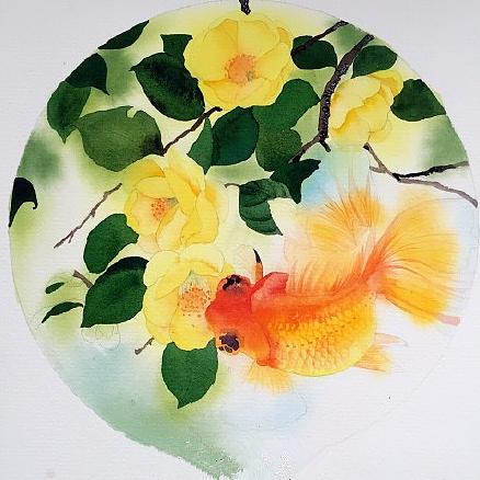 水彩画图文教程《花与鱼》